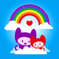 Cute kitten couple with rainbow in love Stock Images
