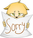 Cute Kitten Holds Sign Of Apology Royalty Free Stock Photo