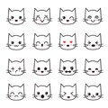 Cute kitten kawaii emoticon collection. Funny white cat emoji vector avatars
