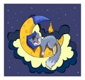 Cute kitten sleeping on the moon. Stock Images