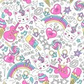 Cute kitten unicorn pattern on a white background. Colorful trendy seamless pattern. Fashion illustration drawing in modern style
