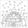 Cute kittens in the basket design for printed tee,cards,invitations and coloring book page for kids. Vector illustration
