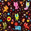 Cute kittens pattern Stock Photos