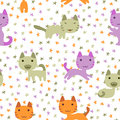 Cute kittens seamless pattern and stars Royalty Free Stock Photo