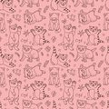 Cute kittens vector seamless pattern with Royalty Free Stock Photography