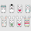 Cute kitty and bunny Royalty Free Stock Photo