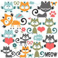 Cute kitty illustrations set of Stock Images