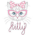 Cute kitty portrait with pin up bow tie on head. Hand drawn cat