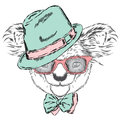 Cute koala in a cap and a tie. Koala vector. Greeting card with bear. Australia. Winter. Skier. Koala wearing glasses.