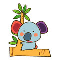 Cute koala, illustration of cute koala sitting on a tree