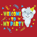 Cute koala smiles on red background vector cartoon, Birthday postcard, wallpaper, and greeting card