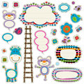 Cute labels colorful set with elements Royalty Free Stock Image