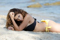Cute lady in back and yellow bikini Royalty Free Stock Photo