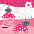 Cute ladybirds vector illustration Royalty Free Stock Photo