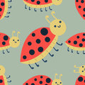 Cute ladybug cartoon red insect nature bug isolated beetle hand drawn vector illustration.