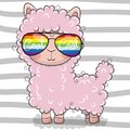 Cute Lama with sun glasses Royalty Free Stock Photo