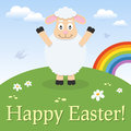 Cute lamb happy easter card a greeting with a funny in a meadow with flowers and the rainbow eps file available Stock Photos