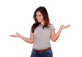 Cute latin young woman holding out hands portrait of a her while standing on white background copyspace Royalty Free Stock Photography