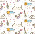 Cute lazy cat with cake seamless background