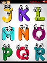 Cute letters alphabet cartoon illustration of funny capital from j to r for children education Stock Photos