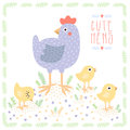 Cute light blue hen with baby chickens vector background Royalty Free Stock Photo