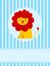 Cute lion on blue greeting card background Royalty Free Stock Image