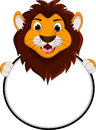 Cute lion cartoon holding blank sign illustration of Stock Images