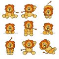 Cute Lion Set Stock Images