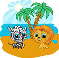 Cute lion and zebra  cartoon  illustration Royalty Free Stock Image