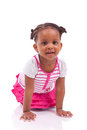 Cute little african american girl black children isolated on white background Royalty Free Stock Photos