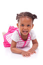 Cute little african american girl black children isolated on white background Royalty Free Stock Images