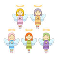 Cute Little Angels In Different Colour Royalty Free Stock Photo