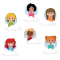 Cute little angels set of sitting on their clouds Stock Photo