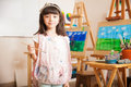 Cute little artist at school Royalty Free Stock Photo