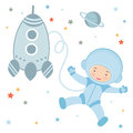 Cute little astronaut in outer space Stock Images
