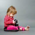 Cute little baby with digital photo camera Stock Images