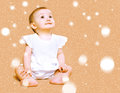 Cute little baby dreamer with snow Royalty Free Stock Photography