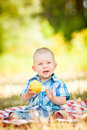 Cute little baby have a picnic this image has attached release Stock Image