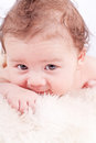 Cute little baby infant toddler on white blanket portrait Royalty Free Stock Image
