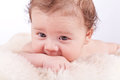 Cute little baby infant toddler on white blanket portrait Stock Images