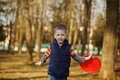 Cute little baby playing frisbee oudoor portrait Stock Images