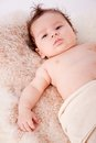 Cute little baby todler infant lying on blanket Stock Images