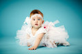 Cute little ballerina blue background Royalty Free Stock Photos