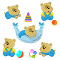 Cute little bear cubs vector illustration Royalty Free Stock Photo
