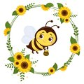 A cute little bee is holding a pot of honey. Frame from yellow flowers of sunflower and leaves. Cartoon style, vector. Royalty Free Stock Photo