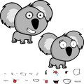 Cute little big head baby koala expressions set Royalty Free Stock Photo