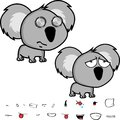 Cute big head baby koala expressions set Royalty Free Stock Photo