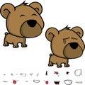 Cute little big head baby teddy bear expressions set Royalty Free Stock Photo