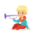 Cute little blonde boy playing clarinet, young musician with toy musical instrument, musical education for kids cartoon