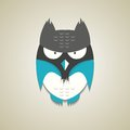 Cute little blue and grey cartoon owl vector illustration of a icon isolated on a neutral light background Royalty Free Stock Photos